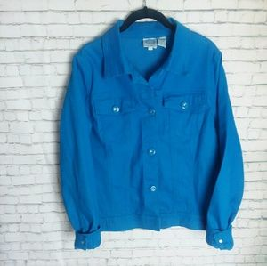 DG2 BY DIANE GILMAN blue colored denim jacket